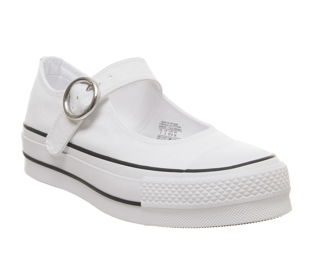 Star Mary Jane Ox Trainers White Black