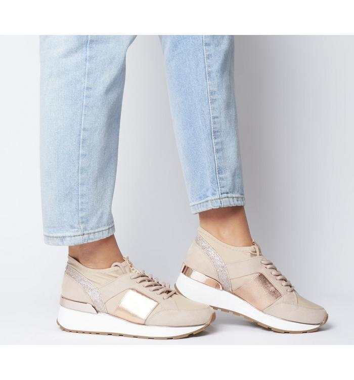 Office Office Fella Glam Lace Up Runner NUDE WITH ROSE GOLD