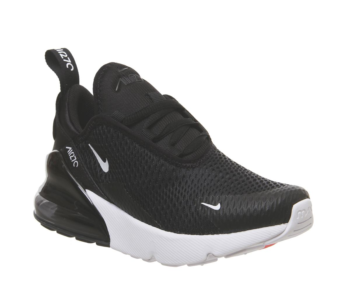 black and white nike air max trainers