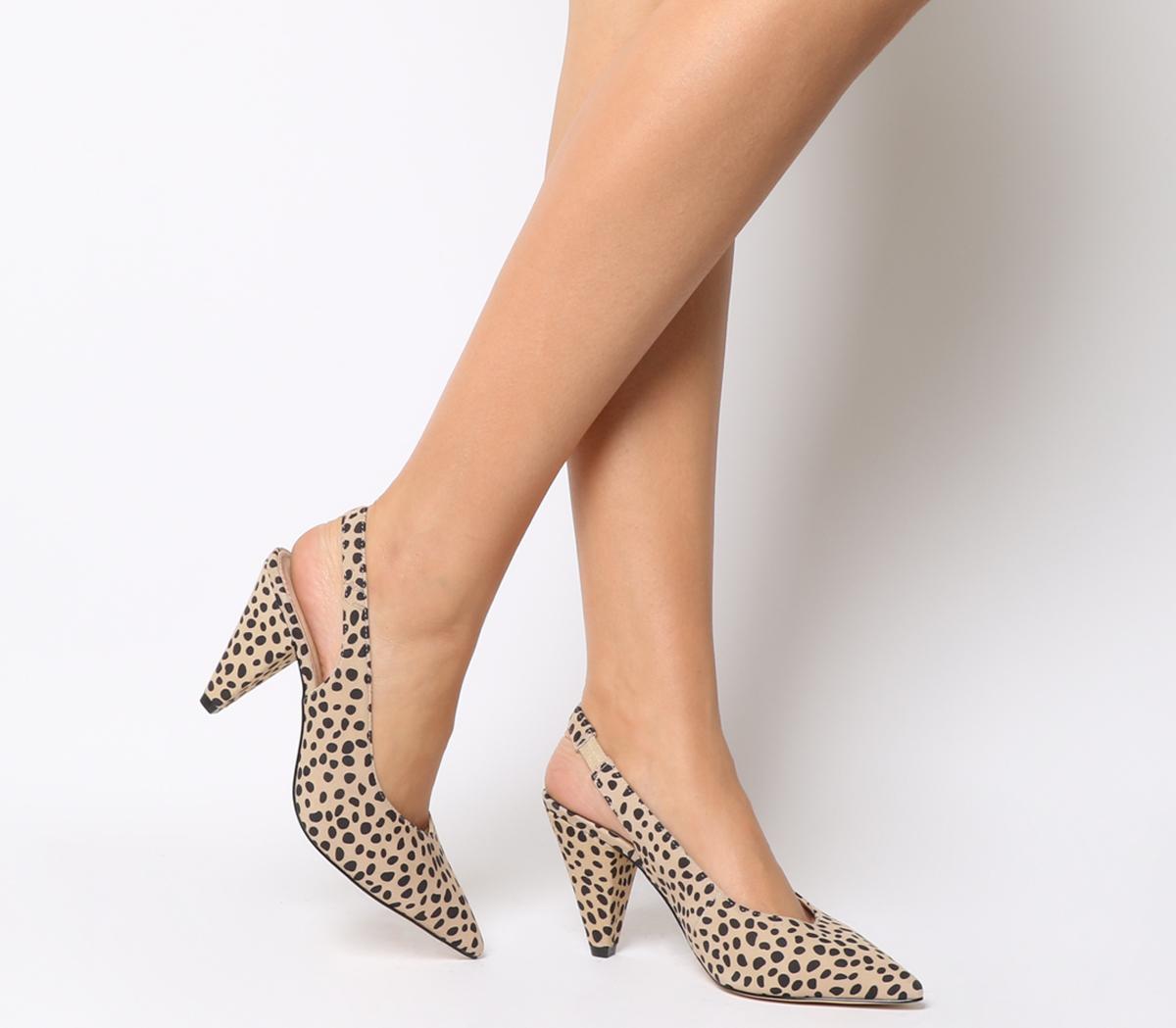 Womens Office Mena Slingback Cone Heels Cheetah Floc Suede Heels