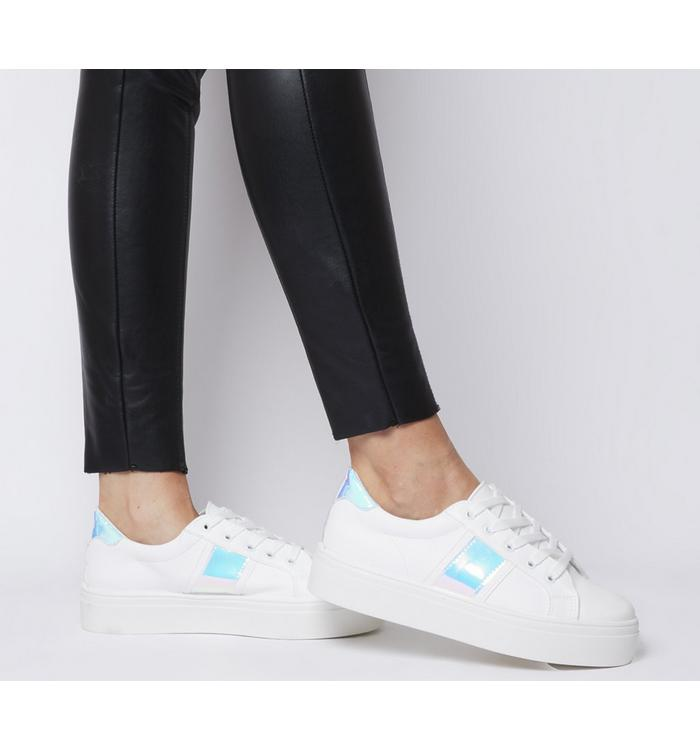 Office Office Feature Platform Lace Up Trainer WHITE WITH IRIDESCENT