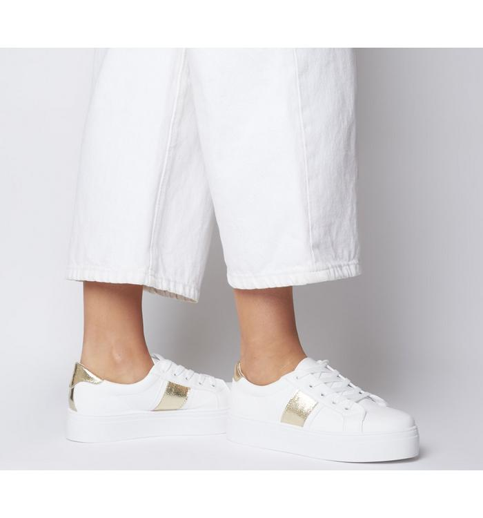 Office Office Feature Platform Lace Up Trainer WHITE WITH GOLD