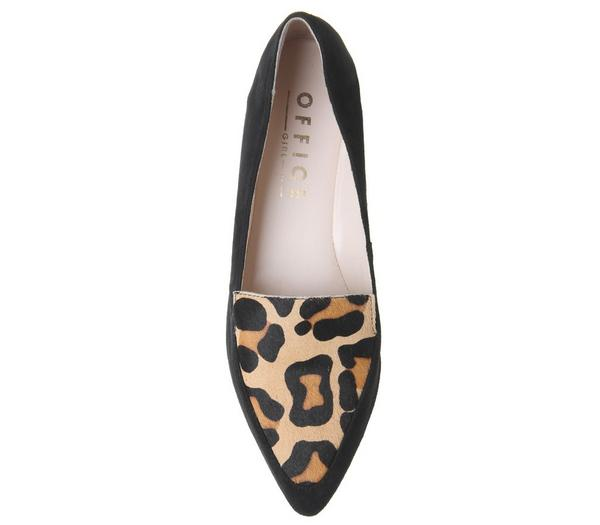 Office Freddie Pointed Loafers Black Suede Leopard Pony Effect - Animal Print IGawo8G