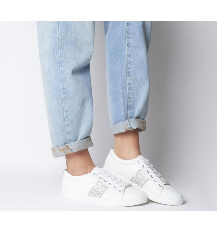 Office Office Fling Chain Detail Lace Up Trainer WHITE WITH STRASS