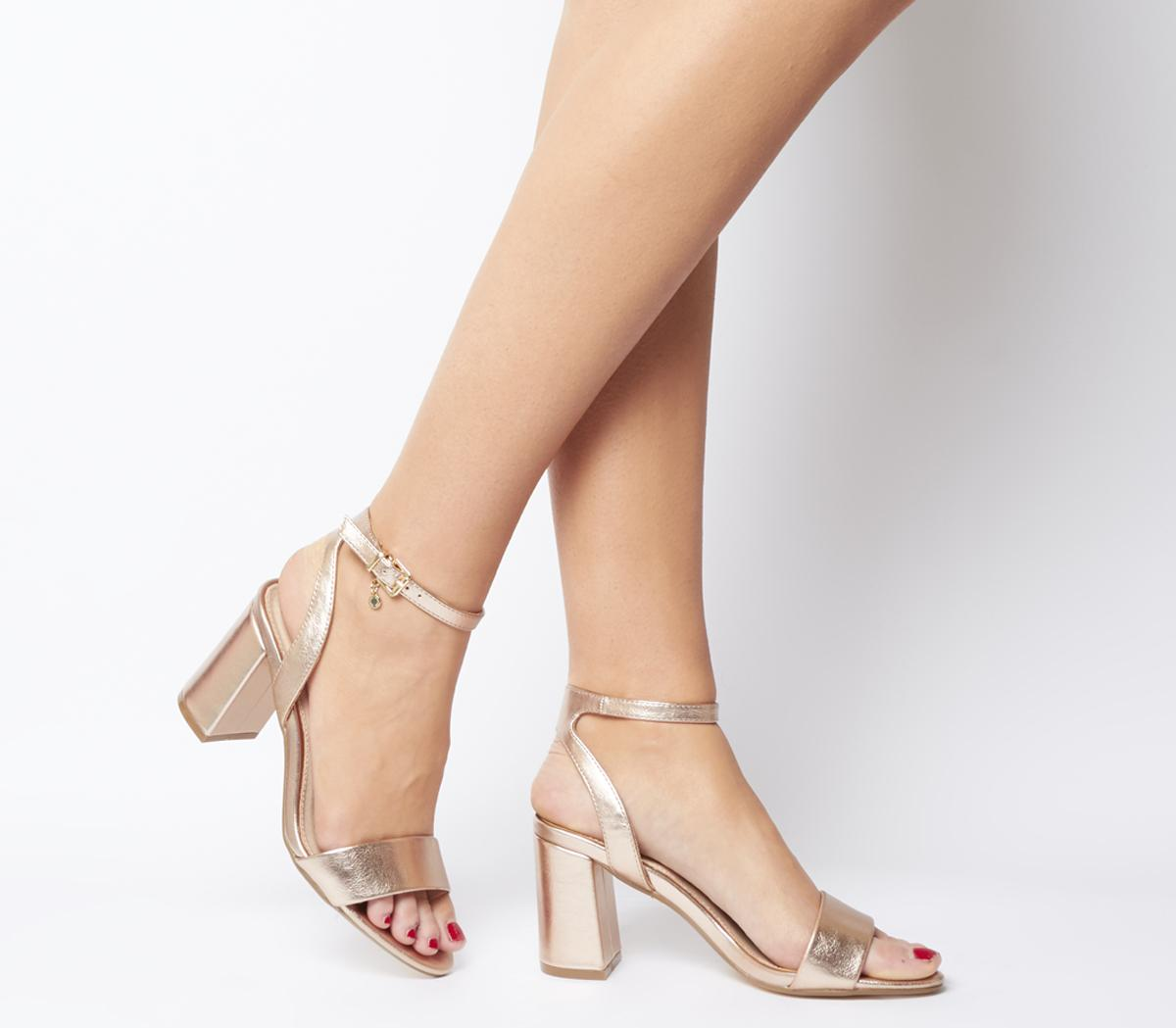 Office Marigold Strappy Heels Rose Gold
