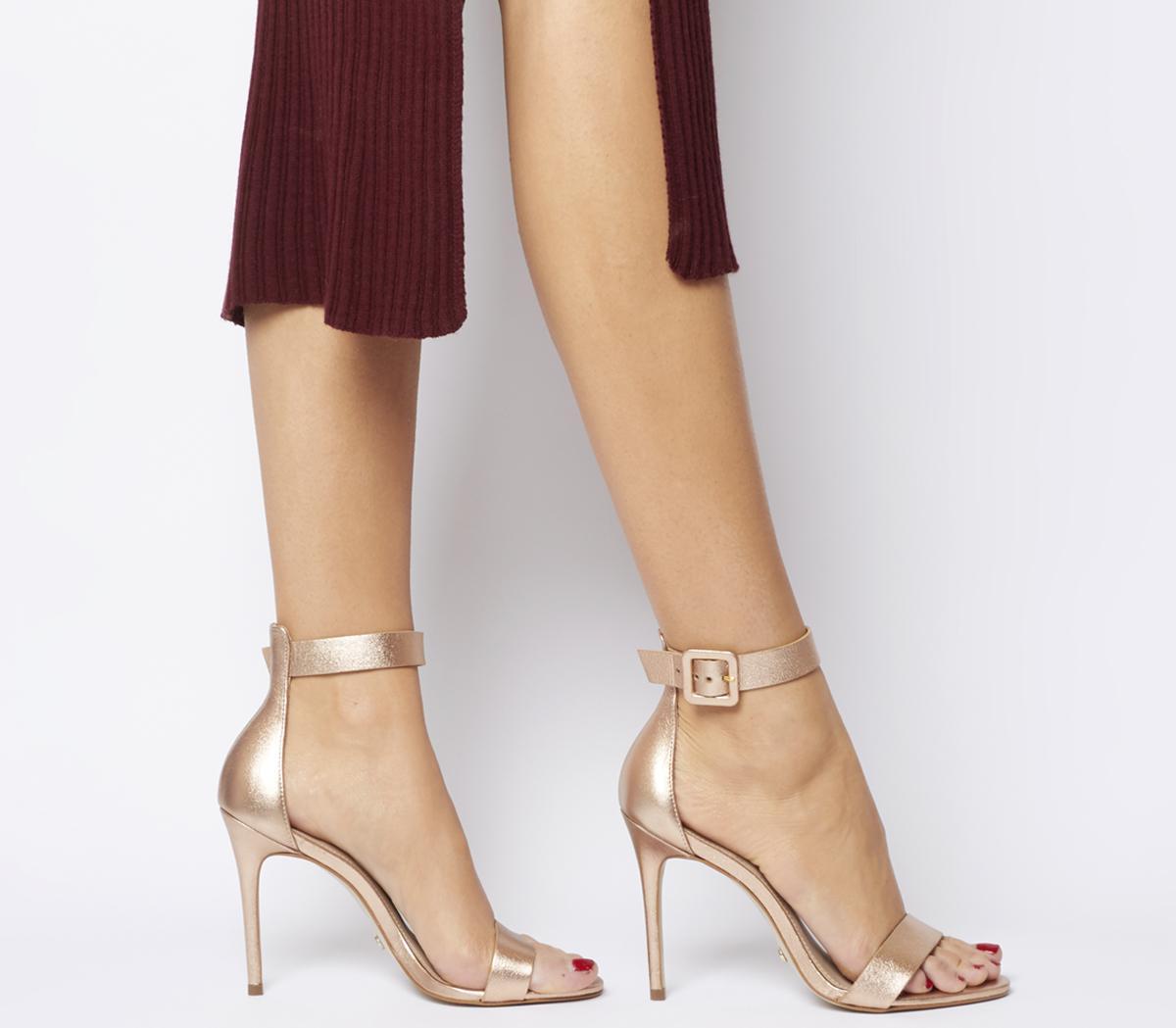 Part Sandal Heels Rose Gold Leather