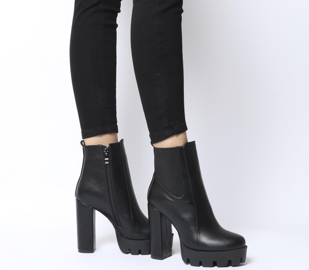 Ego Atlas Heeled Boots Black Pu - Ankle