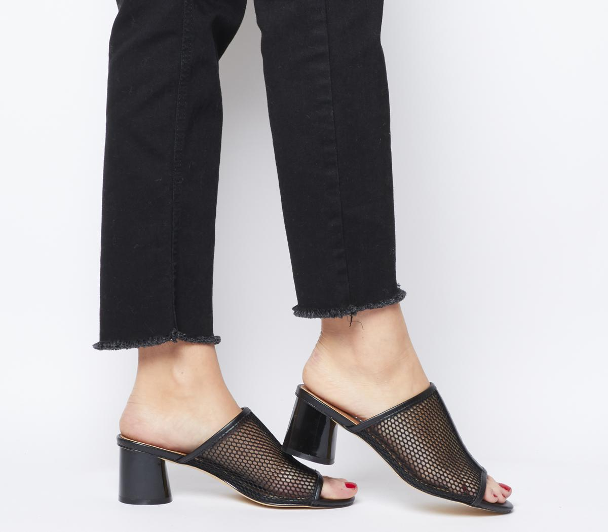 Feature Heel Mule Black Mesh - Mid Heels