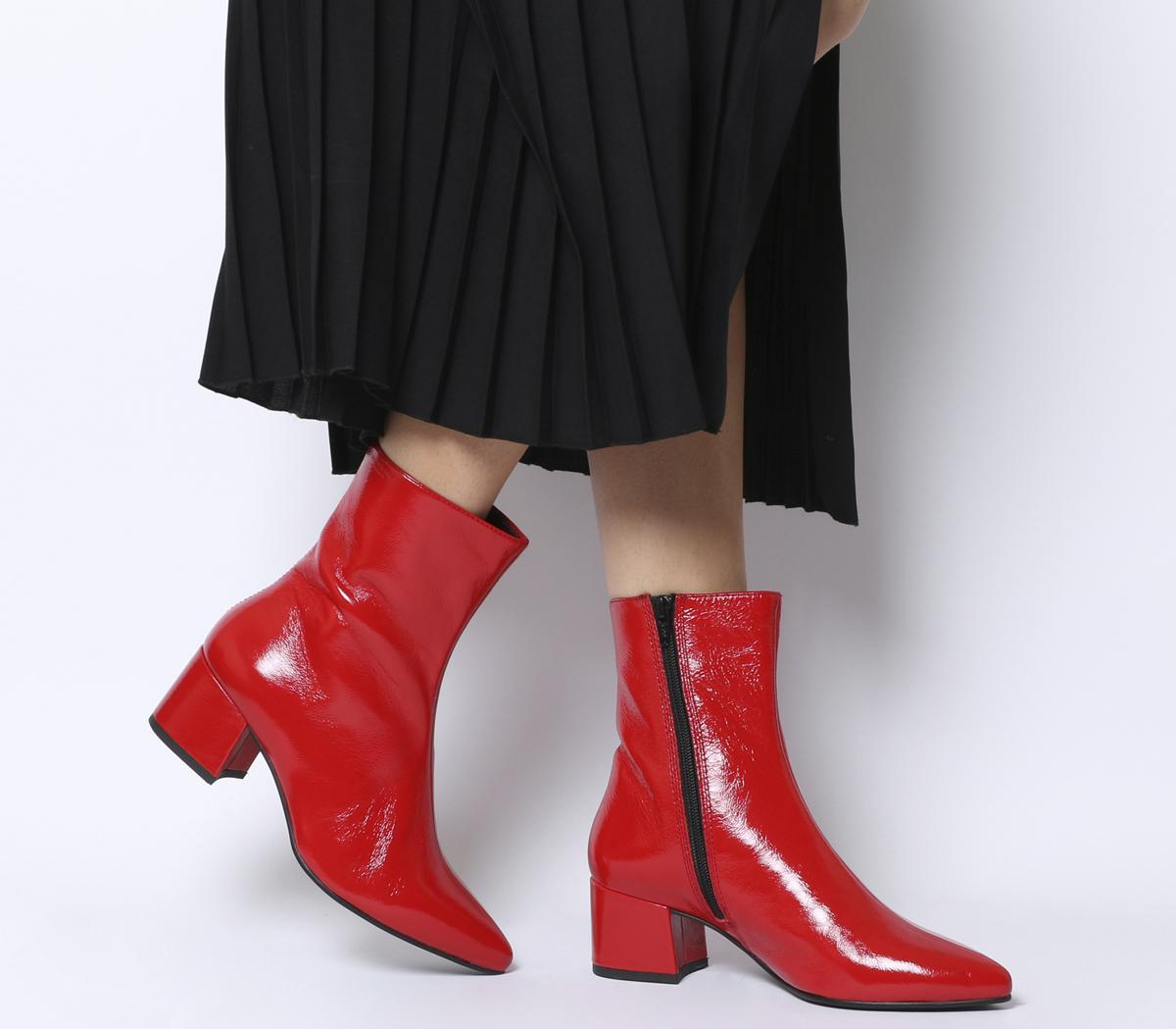 Vagabond Mya Mid Ankle Boots Red Patent