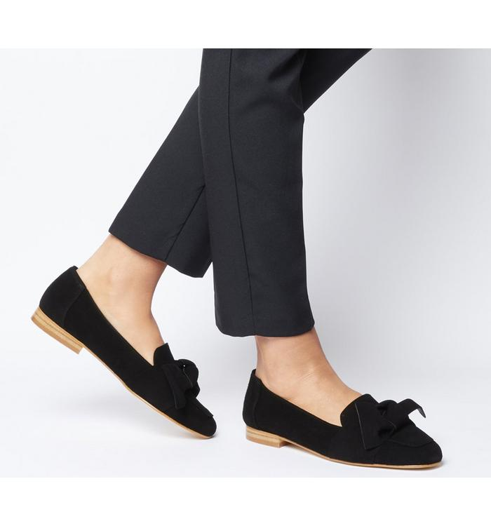 Office Office Foal Softy Bow Loafer BLACK SUEDE
