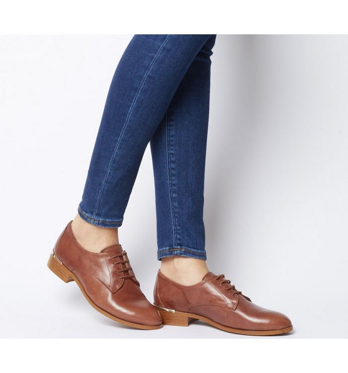 Office Office Format Lace Up With Heel Clip TAN LEATHER