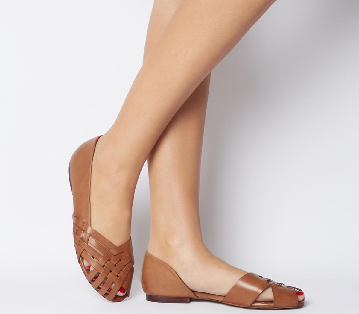 Office Fall Woven Flats Tan Leather - Flats