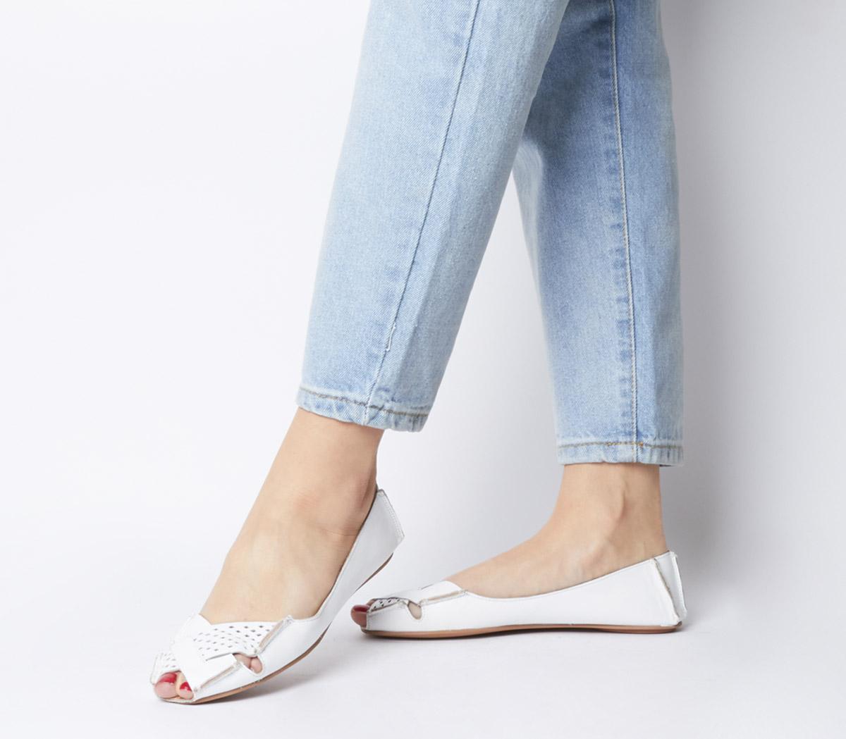 Felt Peep Toe Shoes White Leather - Flats