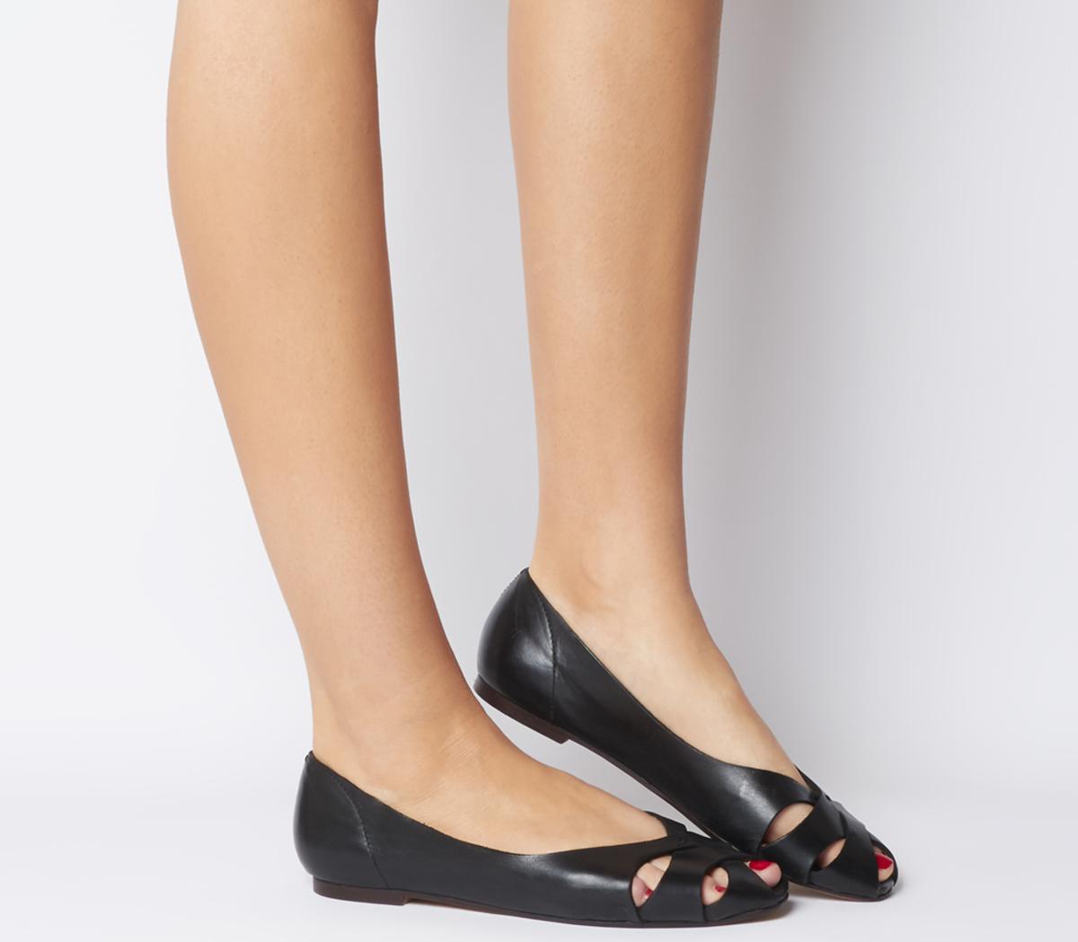 Office Fickle Peep Toe Flats Black