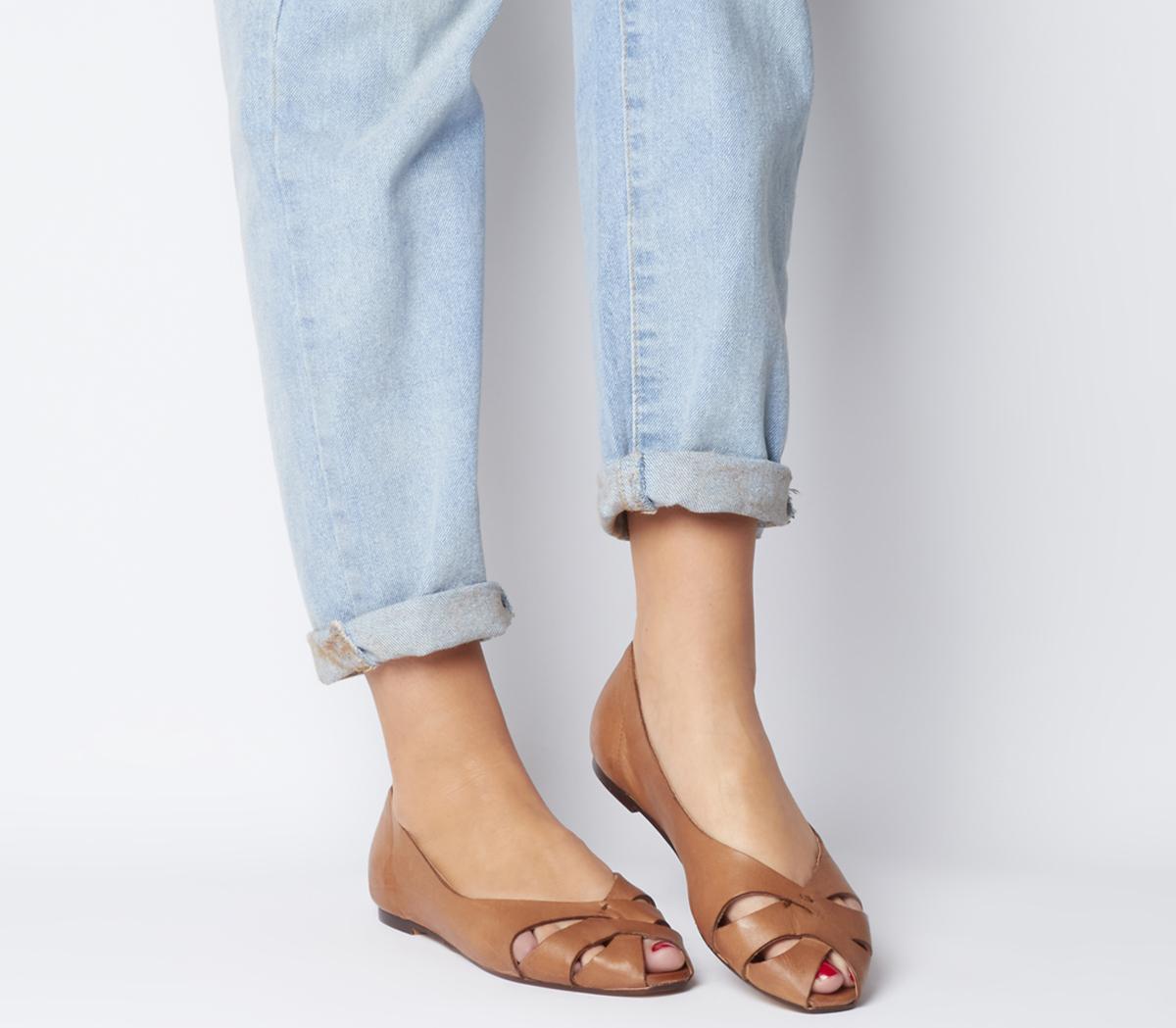 Office Fickle Peep Toe Flat Tan Leather