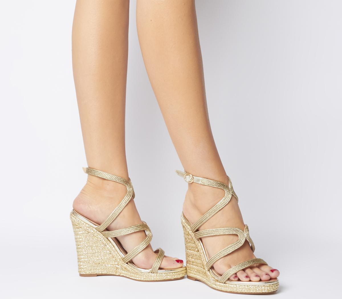 gold strappy wedges online