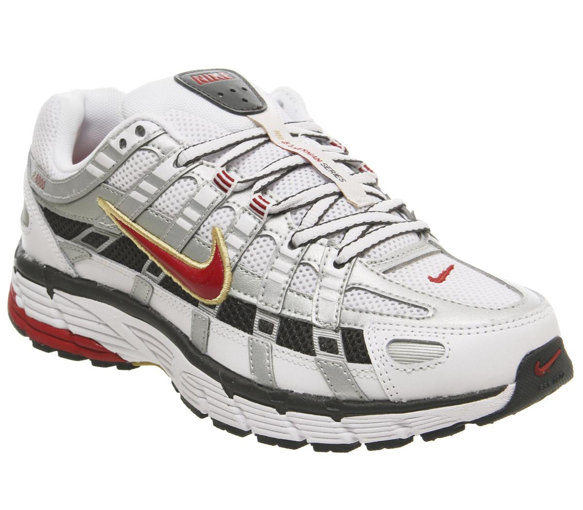 sarto portatori di handicap Pensionato  Nike P-6000 Trainers White Varisty Red Metallic Platinum - Hers trainers