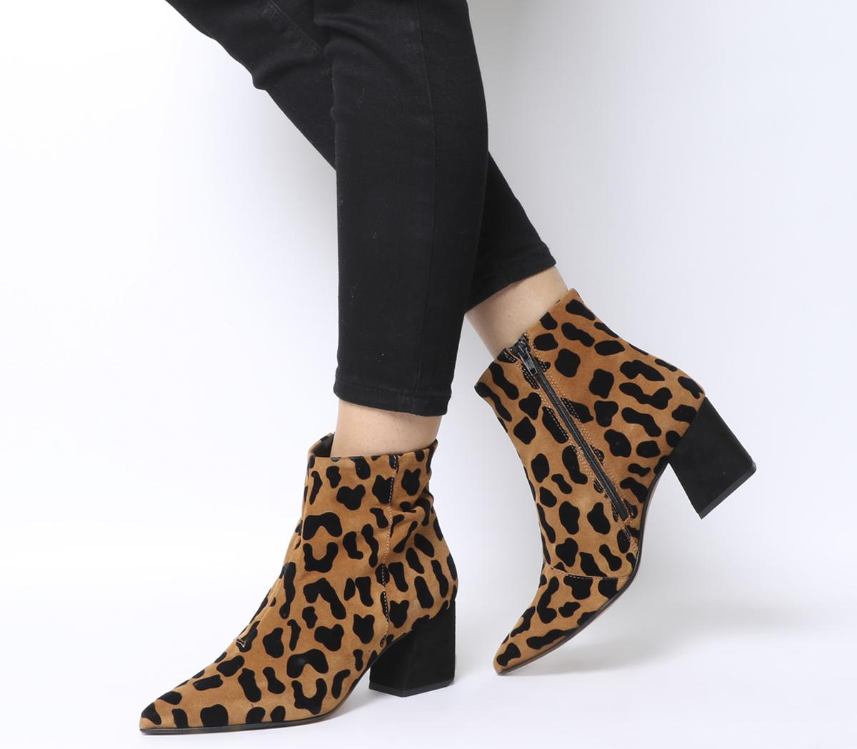 Ladies Women Block Chunky Heels Leopard Print Zip Ankle Boots Office Shoes Size