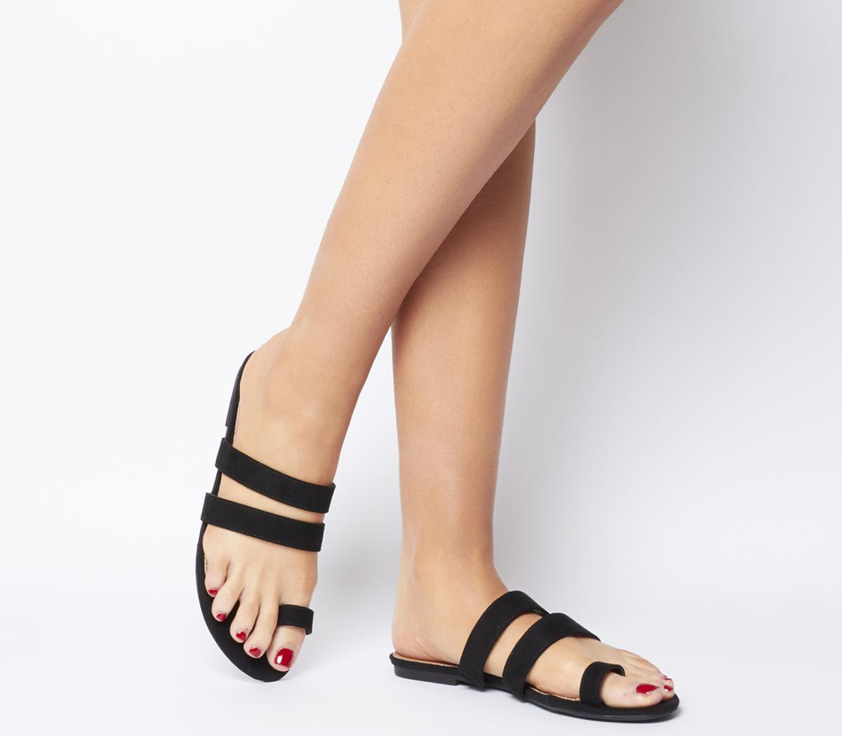 Office Selfie Toe Loop Sandals Black