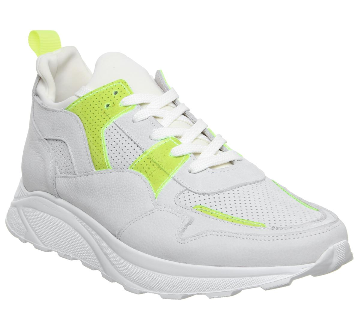Office Lacrosse Trainers White Yellow