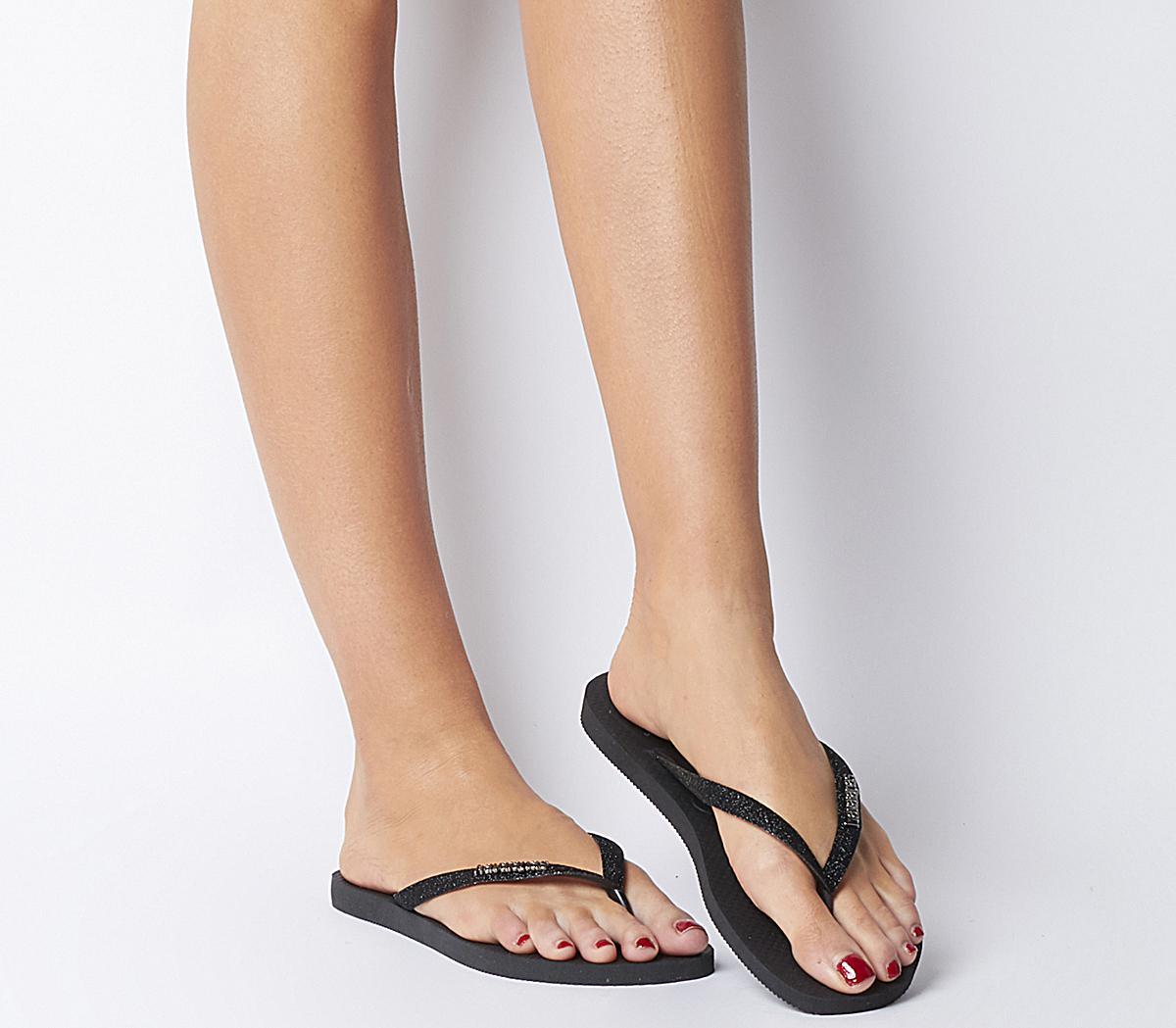 Havaianas Slim Glitter Flip Flops Black