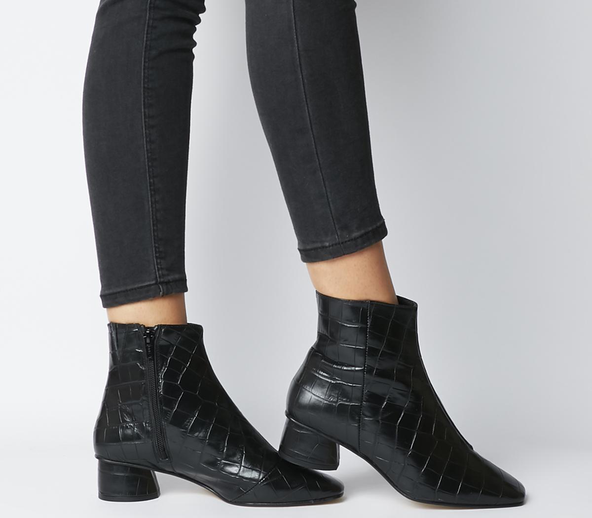 Almond Low Block Heel Boots