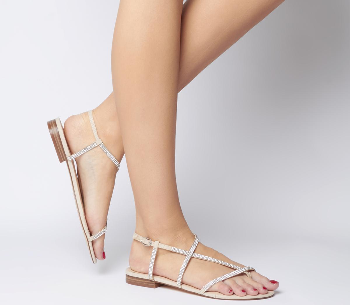 Satellite Embellished Asymmetric Sandals