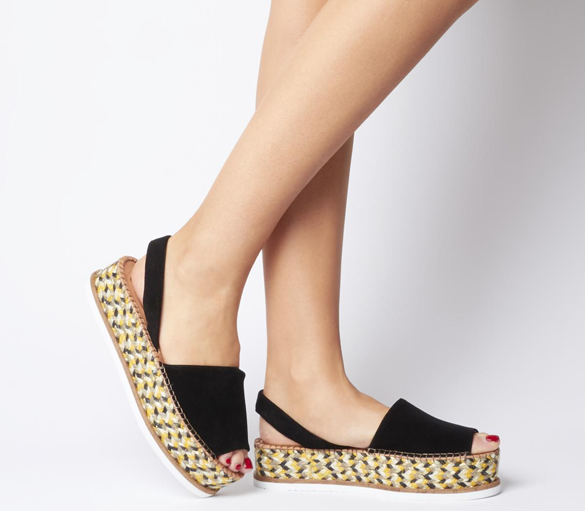 Julio Flatform Mules Black Suede - Sandals
