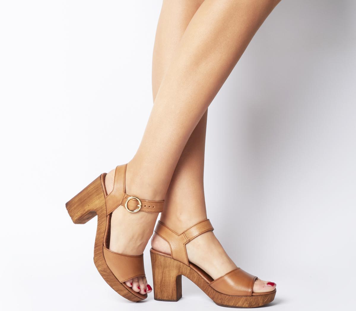 Office Mariel Block Sandals Tan Leather