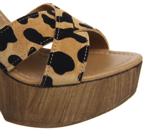 Office Hawaiian Wood Platform Heels Leopard Suede Flocked - High Heels pjhw7sZ