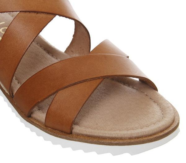 Office Sherwood Cross Strap Espadrilles Tan Leather - Sandals 192Ac4V