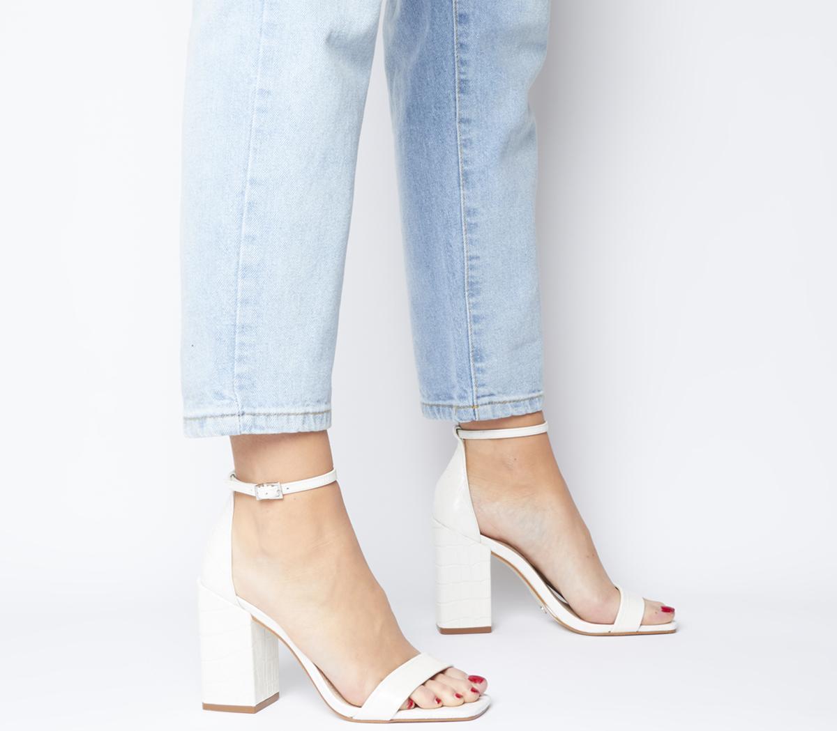 Office Heroic Block Heel Sandals White