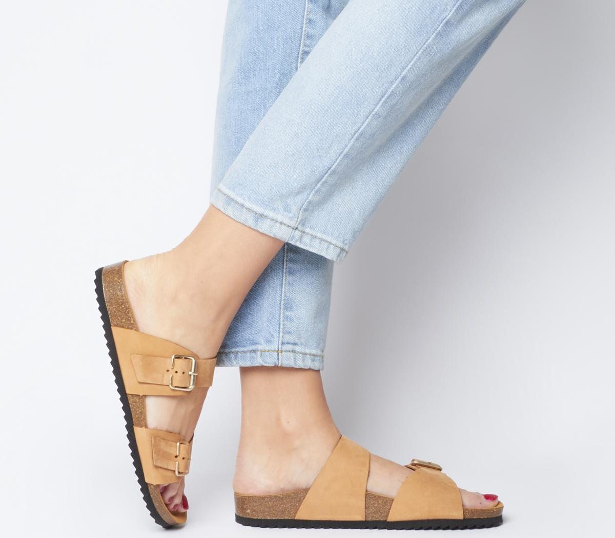Womens Office Stride Double Buckle Footbed Sandals Nude Nubuck Sandals