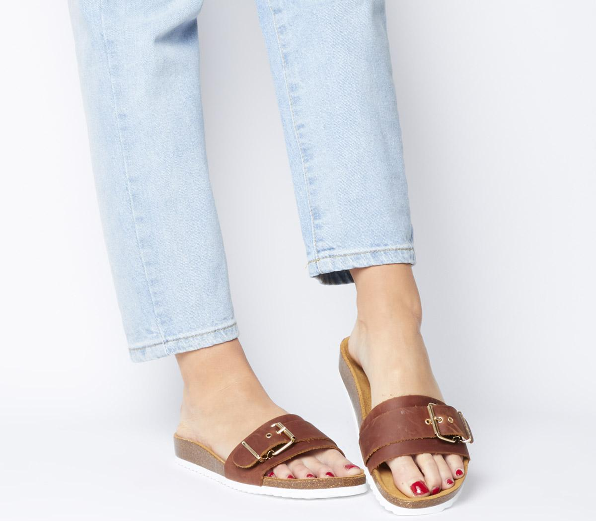 Stereo Buckle Footbed Sandals
