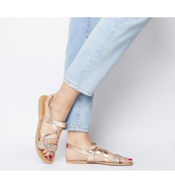 Solillas Solillas Strappy Sandal ROSE GOLD GLITTER LEATHER