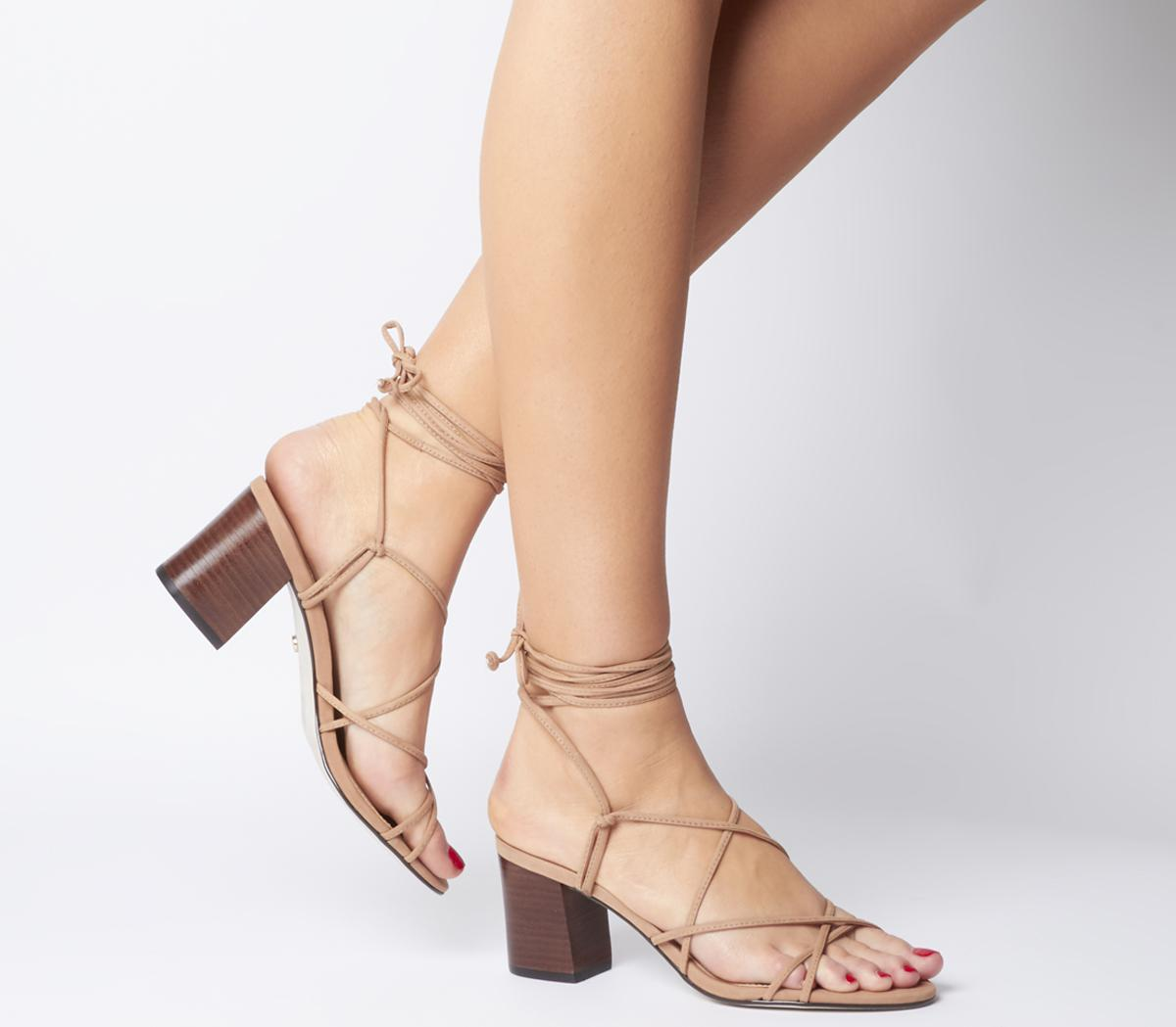 Office Mapletree Super Strappy Block Sandal Nude Nubuck With Stack - Flats