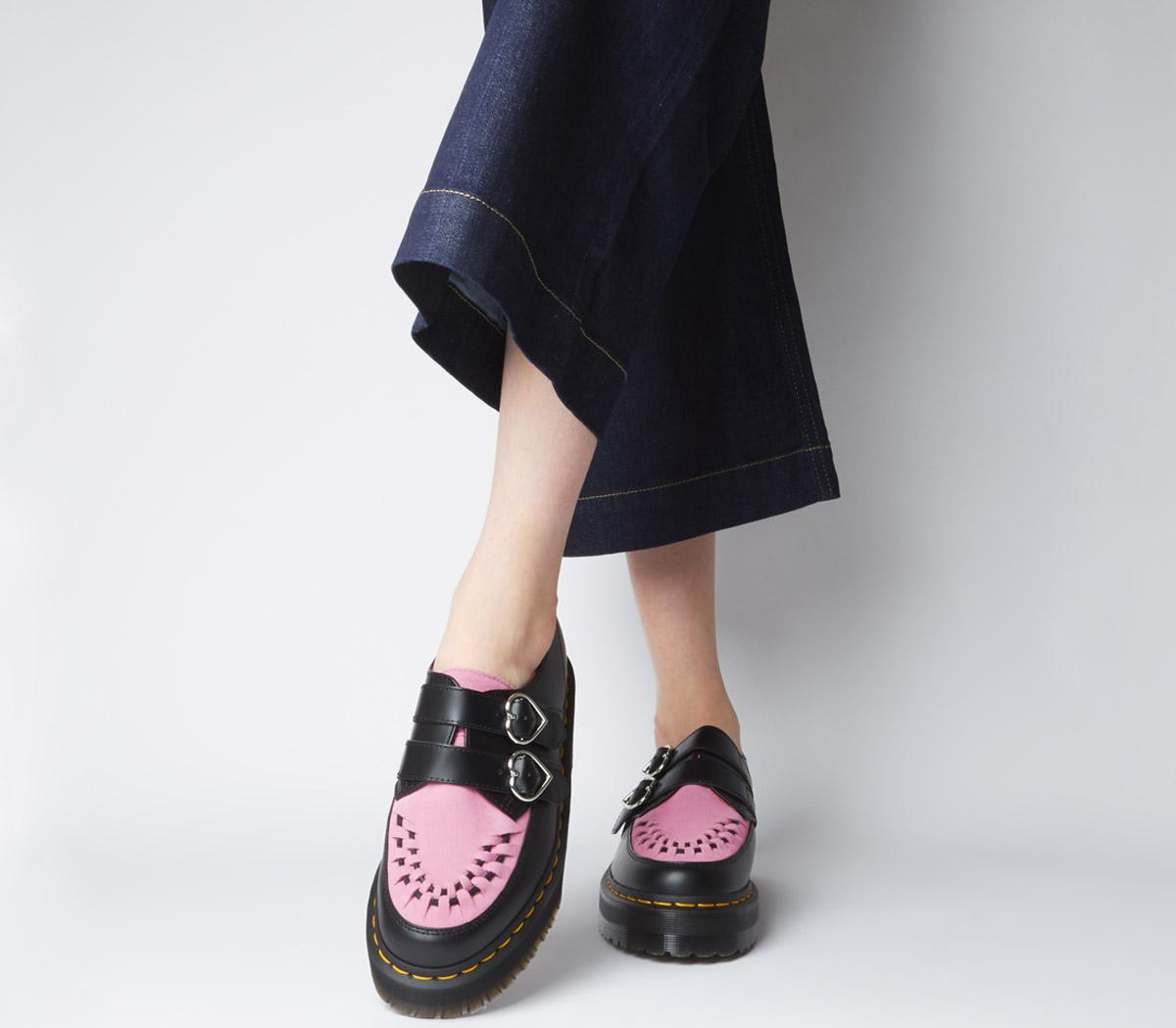 black and pink doc martens