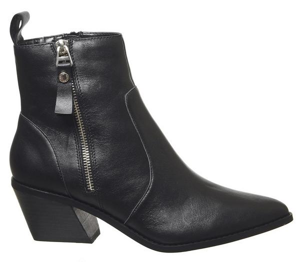 Office Arrow Western Side Zip Boots Black Leather - Ankle Boots WuZMn3S