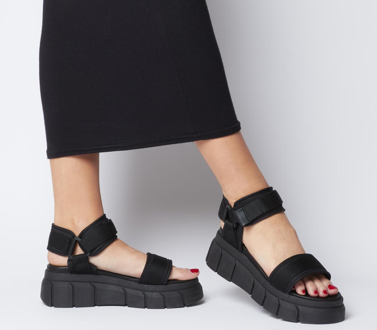 pick up outlet store sale superior quality Office Marshall Chunky Multi Strap Sandal Black - Mid Heels