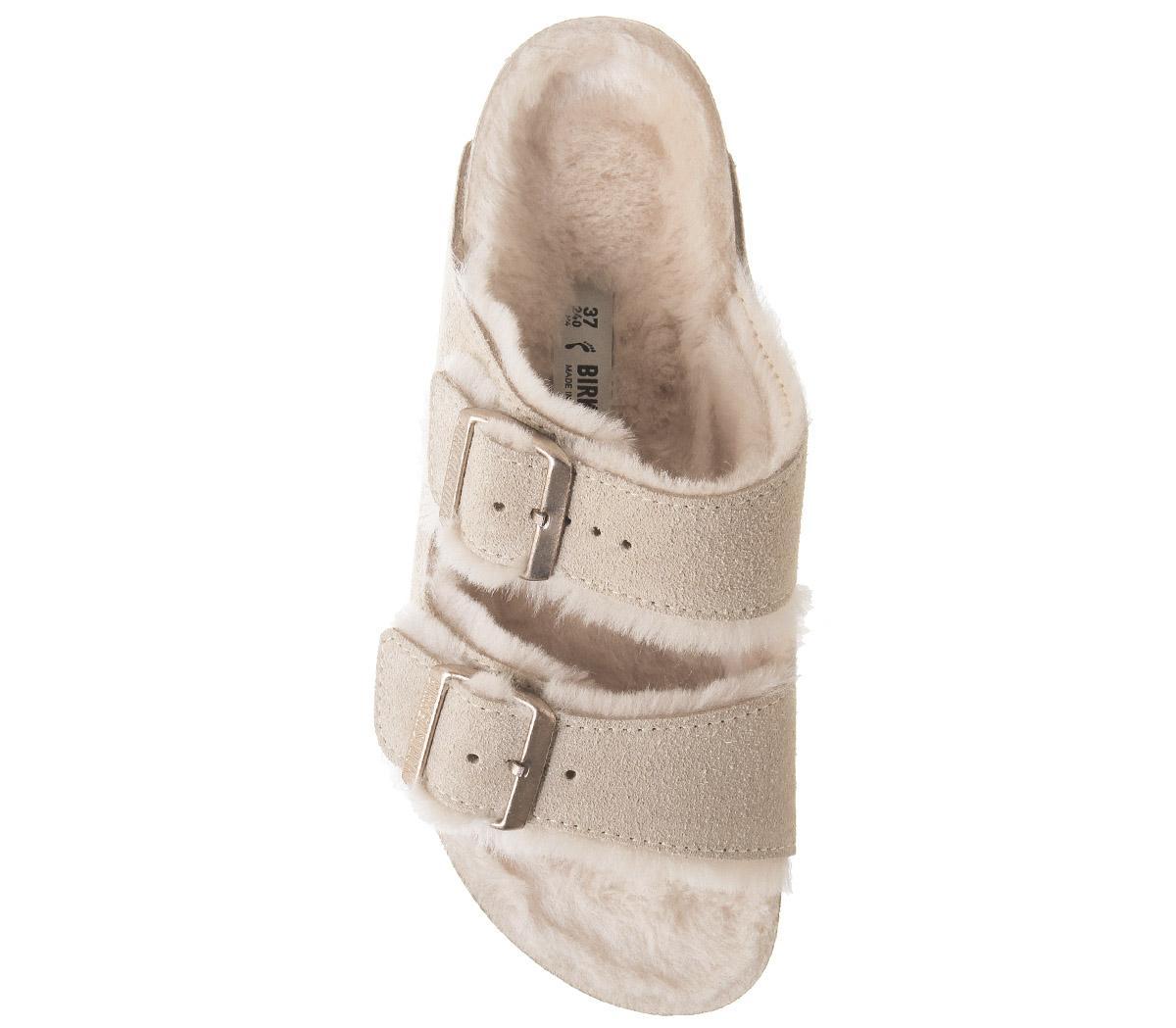 Birkenstock Arizona Shearling Sandals In Nude | ModeSens