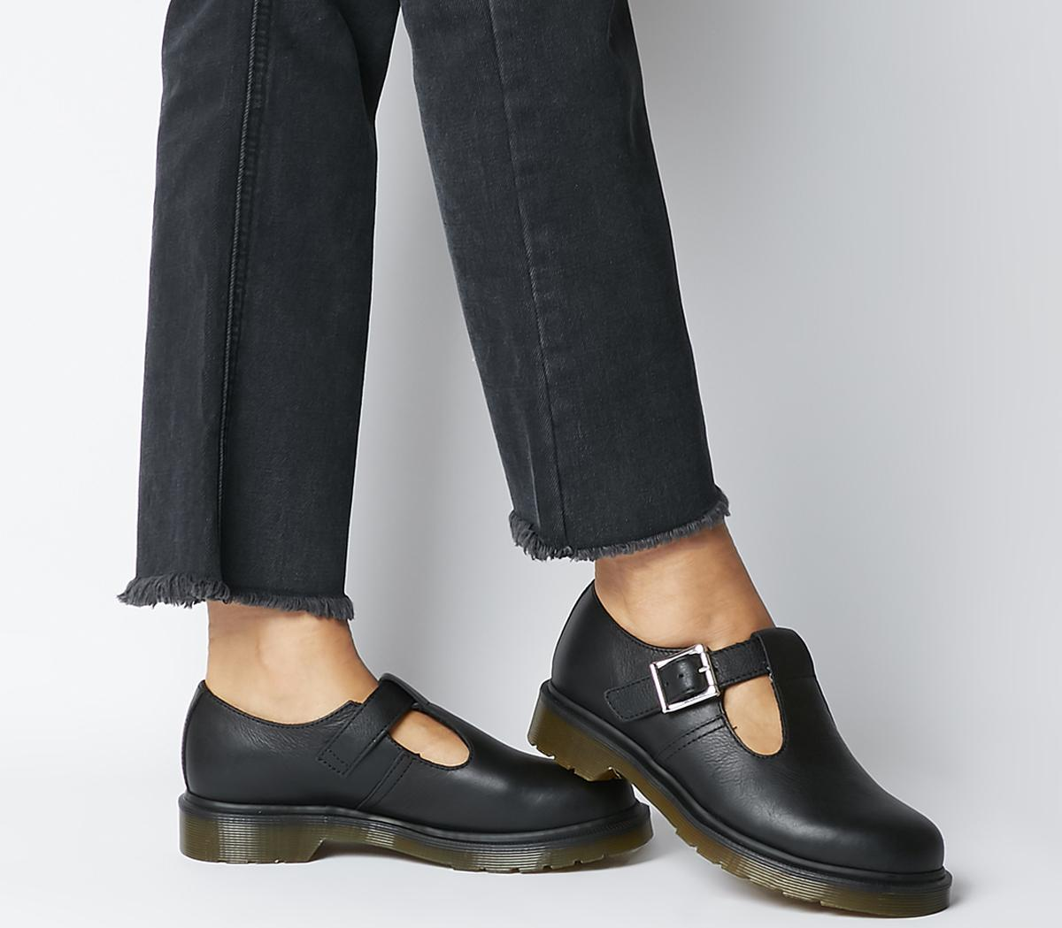 skönhet nytt utseende söt Dr. Martens Polley T Bar Shoes Black Virginia - Flats