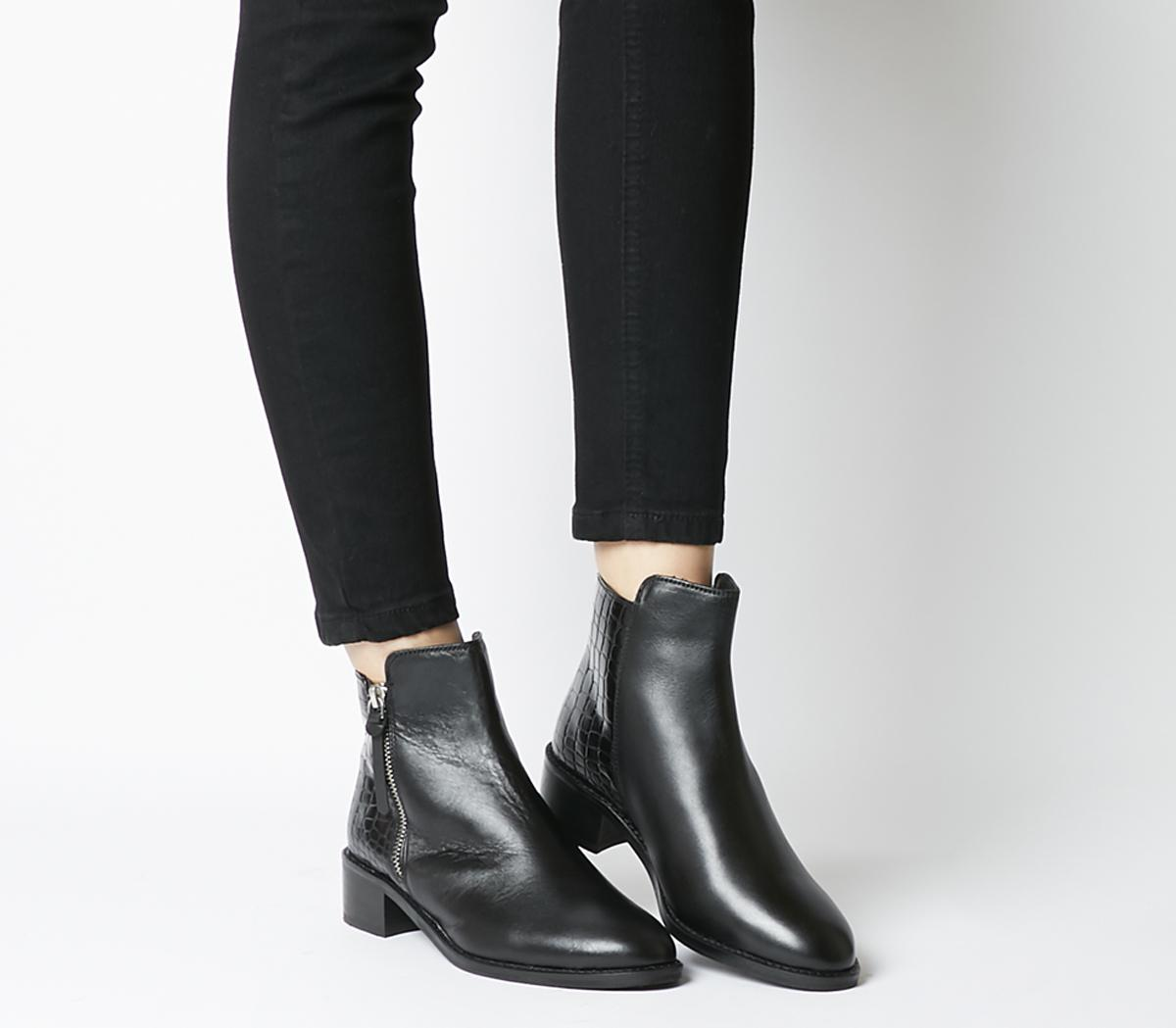 Aspen Side Zip Stepped Ankle Boots