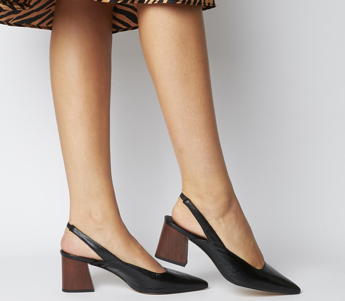 Office Muse Point Slingback Heels Black