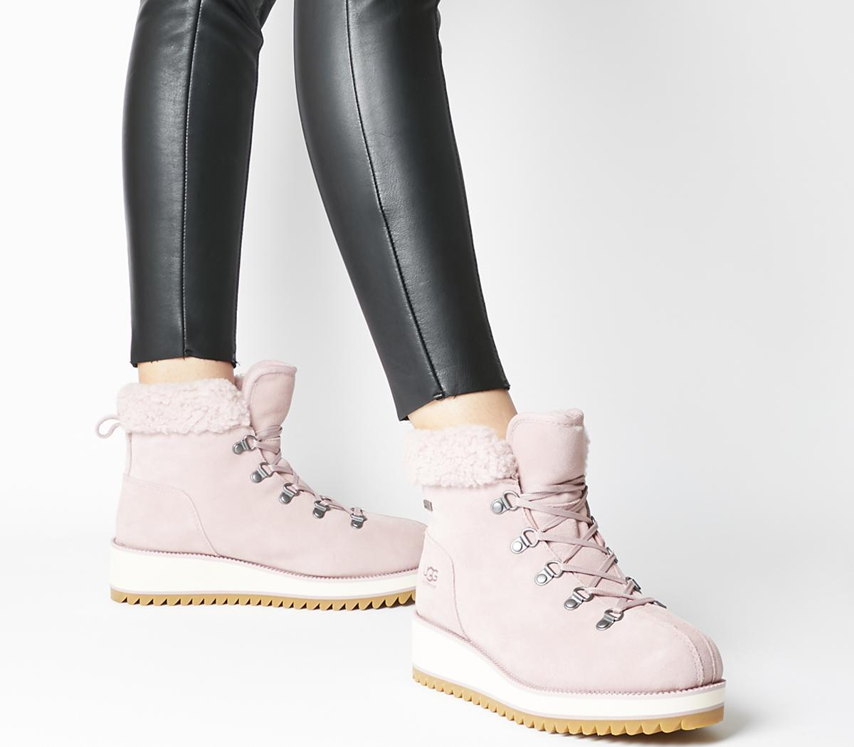 UGG Birch Lace Up Shearling Boots Pink