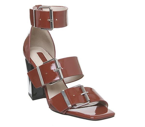 Office Heart-throb Triple Buckle Sandals Rust Crinkle Patent - High Heels 3pbmF7z