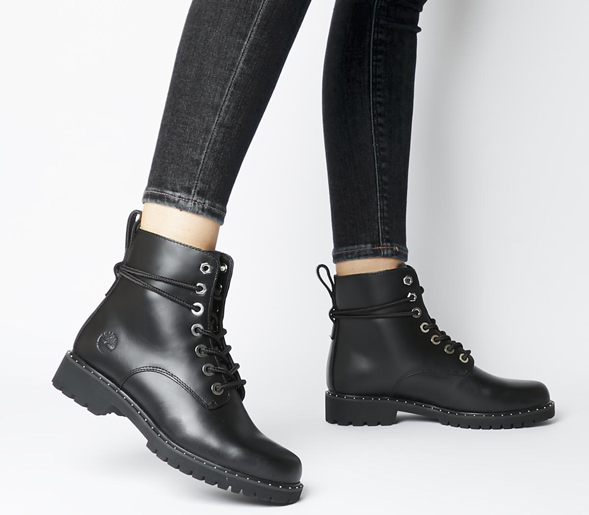 black timberland boots leather