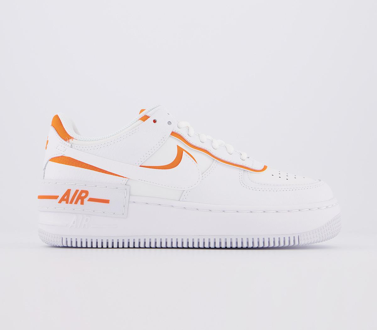 Nike Air Force 1 Shadow Trainers White Summit White Orange Hers Trainers This nike air force 1 shadow comes with an iridescent pixelated swoosh. air force 1 shadow trainers