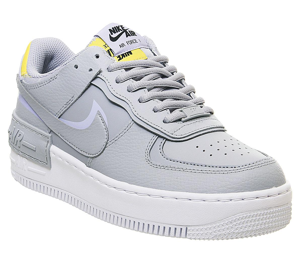 Nike Air Force 1 Shadow Trainers Wolf Grey Chrom Yellow Lavendar Mist His Trainers 4.42 / 5 13 votes. air force 1 shadow trainers