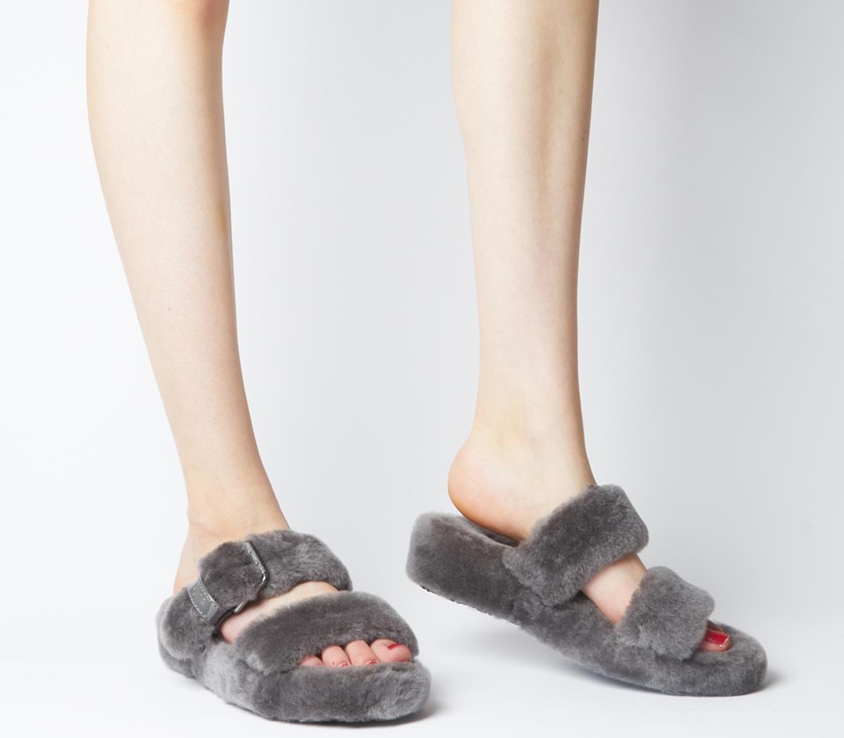 Ugg Fuzz Yeah Sandals Charcoal Sandals