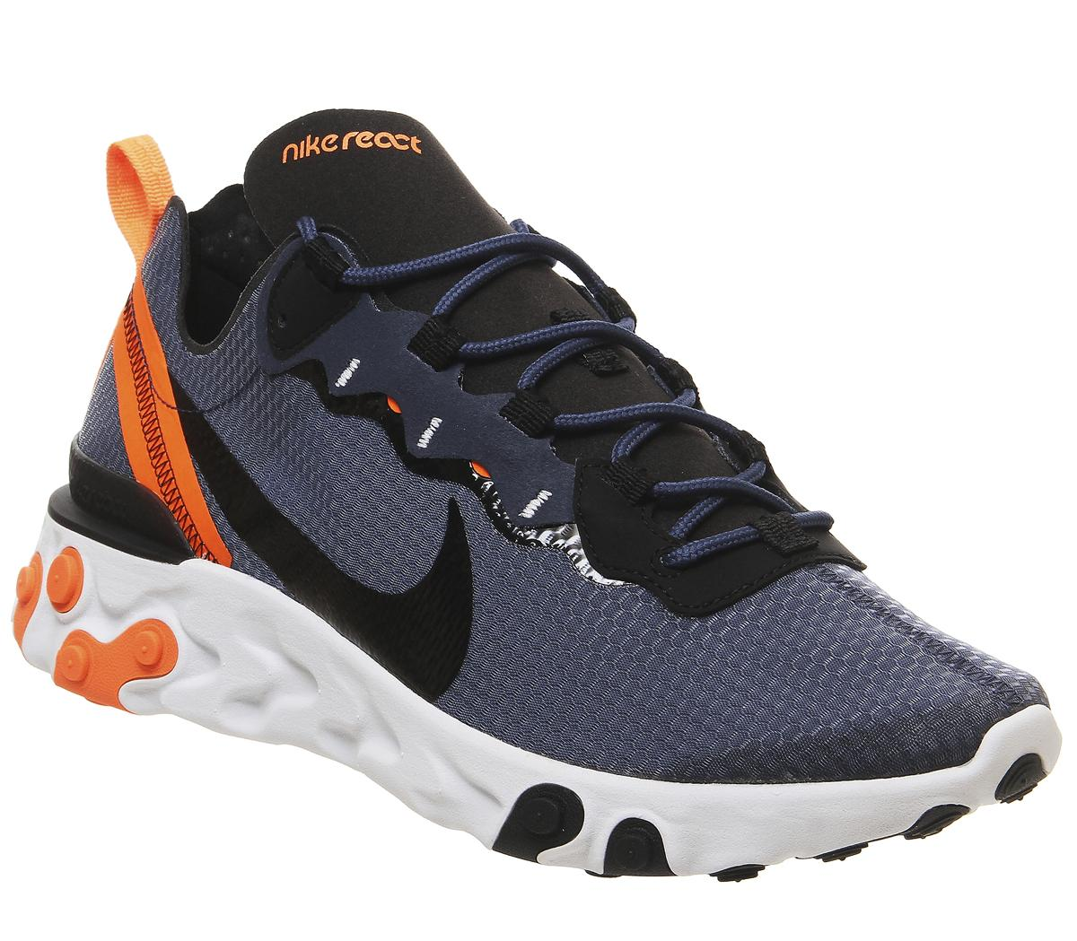Haz un esfuerzo medianoche Precipicio  Nike Element React 55 Trainers Midnight Navy Black Total Orange - His  trainers